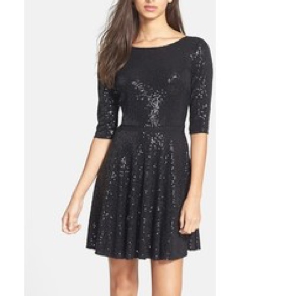 c83cc94686a2 MAIA Dresses | Sequin Jersey Fit Flare Dress 34 Sleeves | Poshmark